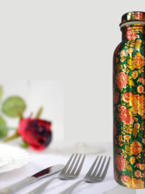 Green Color with Red Roses printed Copper Water Bottle (900ml)