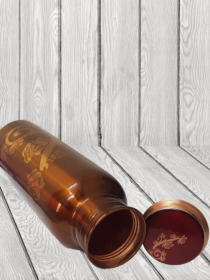 Beautiful Brown Bottle with Golden Rose printed Copper Water Bottle (900ml)