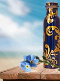 Classy Royal Blue printed Copper Water Bottle (900ml)